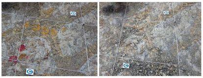 Imagen del yacimiento antes (izquierda) y después de los destrozos.