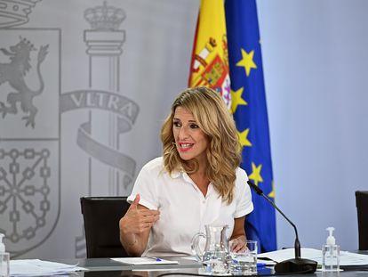 La ministra de Trabajo, Yolanda Díaz, en la rueda de prensa posterior al Consejo de Ministros de este marte en La Moncloa.