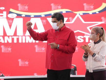 Nicolás Maduro, en un acto por el Día del Trabajador, el 1 de mayo en la sede del Gobierno en Caracas.