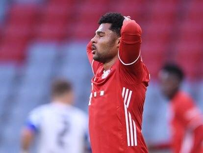 Gnabry, durante un partido de la Bundesliga de esta temporada con el Bayern de Múnich. / (REUTERS)