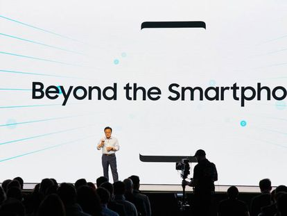 DJ Koh, presidente de la división de telefonía móvil de Samsung Electronics, habla sobre el futuro de la compañía en la conferencia anual de desarrolladores celebrada en San Francisco, California.