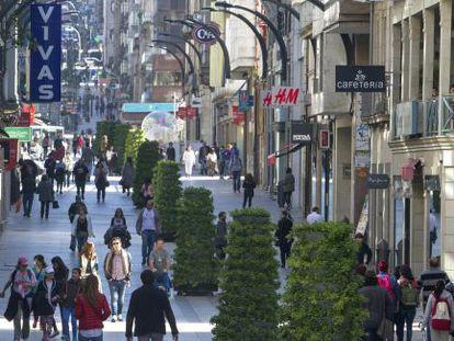 Rúa do Príncipe, la zona más comercial de Vigo, el pasado viernes