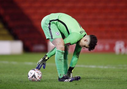 Kepa, durante el partido de la FA Cup contra el Barnsley.