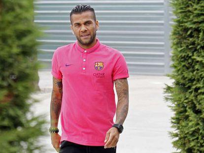 Dani Alves, en la ciudad deportiva del Barcelona.