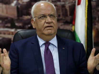 El secretario de la Organización para la Liberación de Palestina, Saeb Erekat, en 2018 en Ramala.
