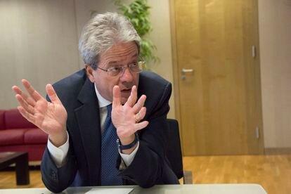 Paolo Gentiloni, comisario de Economía, en su oficina de la Comisión Europea en Bruselas.