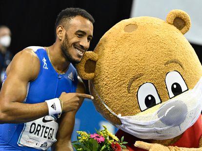 Orlando Ortega, tras la prueba que ganó en Berlín el 5 de febrero.