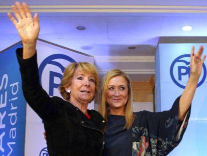 Las expresidentas de la Comunidad de Madrid Esperanza Aguirre y Cristina Cifuentes.