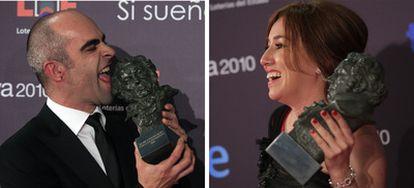 Luis Tosar (izda), con su premio a mejor protagonista por Celda 211  y Lola Dueñas con el suyo a mejor actriz protagonista por Yo, también