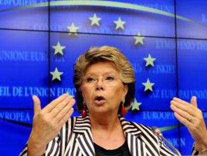Viviane Reding, durante una conferencia de prensa en Bruselas.