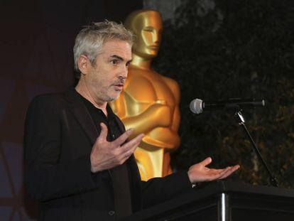 Cuarón, durante el cóctel de nominados a mejor película extranjera.