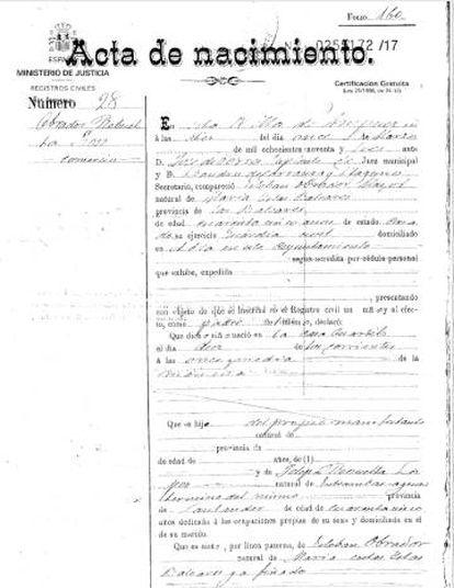 Partida de nacimiento de José Obrador, abuelo del presidente mexicano.