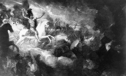 Destrucción de la bestia y el falso profeta. Benjamin West (1804)