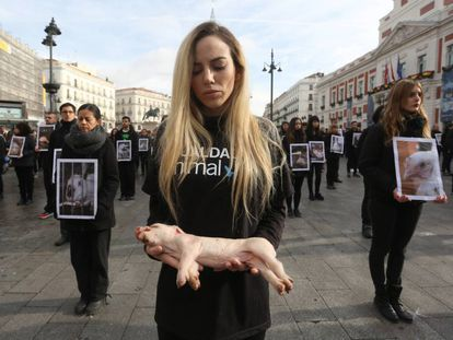 Manifestación en Madrid, el pasado diciembre, de activistas de Igualdad Animal.