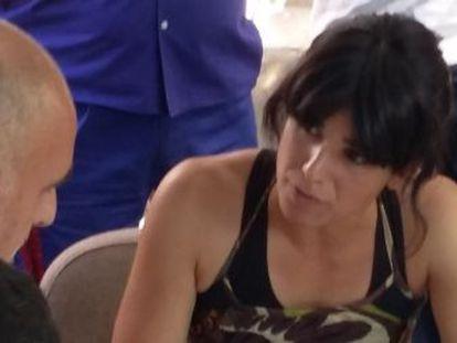 Teresa Rodríguez, durante la reunión con los trabajadores de mantenimiento de los hospitales este jueves.