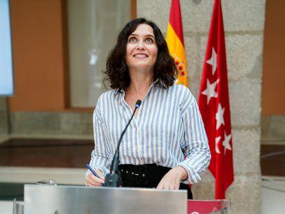 La presidenta madrileña en funciones, Isabel Díaz Ayuso, el miércoles en la Real Casa de Correos.