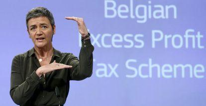 La comisaria europea de Competencia, Margrethe Vestager, durante la rueda de prensa en la que ha presentado la reclmación a Bélgica