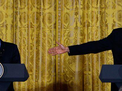Sarkozy y Obama, durante su comparecencia pública en Washington.