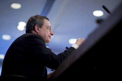 Mario Draghi, presidente del BCE, en su comparecencia en la asamblea del FMI de este mes de abril.