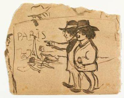 Pablo Picasso y Manuel Pallarès contemplando la torre Eiffel