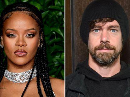 La artista Rihanna y el creador de Twitter, Jack Dorsey.