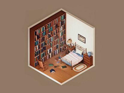 El artista Amrit Pal Singh reinterpreta habitaciones icónicas del arte, el cine y otras disciplinas en las que le gustaría pasar la cuarentena, en lugar de la suya en la que se encuentra completamente solo. Aquí Murph's Room de 'Interstellar'. |