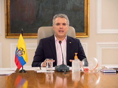 El presidente Iván Duque durante uno de sus programas diarios.