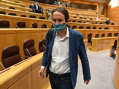 El vicepresidente segundo del Gobierno y líder de Unidas Podemos, Pablo Iglesias, en una sesión de control en el Senado este pasado mes de julio.