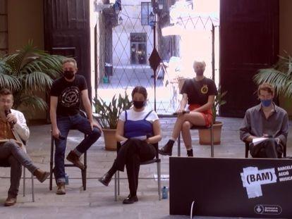 La cooperativa L'Afluent,  que  programará el festival BAM los próximos cuatro años, durante el acto de presentación el miércoles.