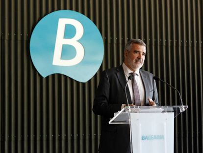 El presidente de Baleària, Adolfo Utor, durante la presentación de resultados de la empresa.