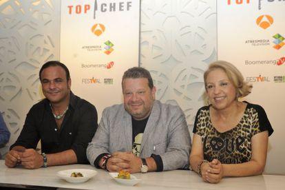 El cocinero Alberto Chicote (centro), durante la presentación de 'Top Chef'.