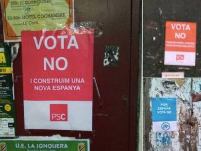 Carteles de la campaña falsa que llama a votar 'no' en nombre del PSC, el PP y Ciudadanos.