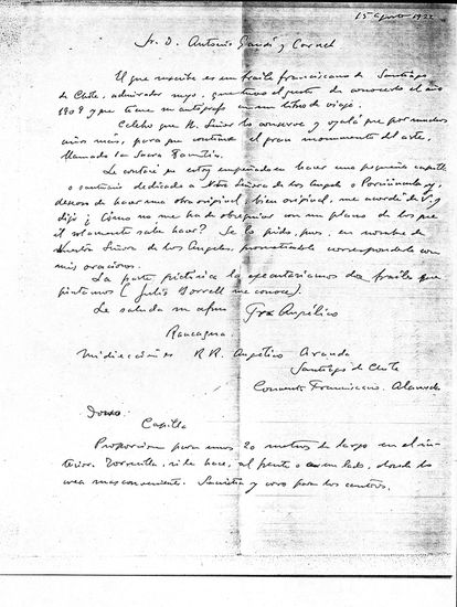 Letter from Fray Angélico Aranda to Antoni Gaudí dated August 15, 1922.