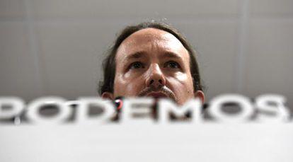 Pablo Iglesias, en la rueda de prensa para valorar las elecciones catalanas.