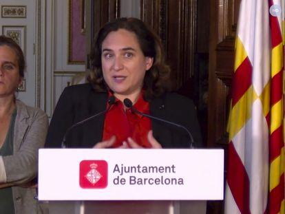 La alcaldesa de Barcelona, Ada Colau, y la consejera de Salud, Alba Vergés, durante una comparecencia telemática conjunta.