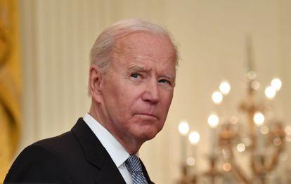 El presidente de Estados Unidos, Joe Biden, este lunes en la Casa Blanca, durante sus declaraciones sobre la vacunación.