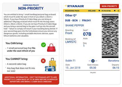 Nueva tarjeta de embarque de Ryanair.