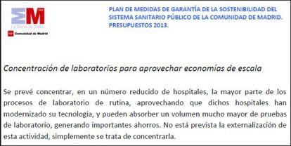 Primer párrafo de la página 10 de Plan de Sostenibilidad que el Gobierno regional presentó el 31 de octubre.