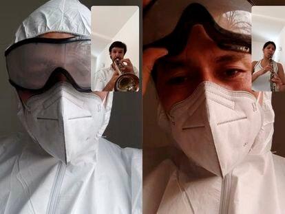 Dos fotografías que muestran a músicos bolivianos tocando para personal sanitario dedicado a luchar contra la pandemia de covid-19 en Bolivia.