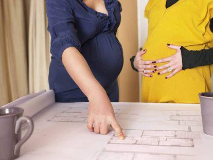 Profesionales embarazadas observan unos planos.