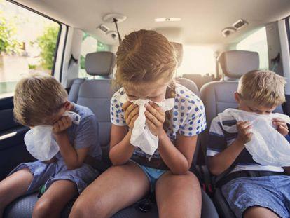 Niños que se marean en el coche y vomitan. Un clásico de los viajes.