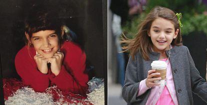 El parecido entre Katie Holmes y Suri, la hija que la actriz tuvo con Tom Cruise en 2006, es notable desde hace años. En la imagen, la intérprete en una foto de cuando era niña que compartió en las redes sociales y, a la derecha, Suri Cruise el pasado mes de mayo.