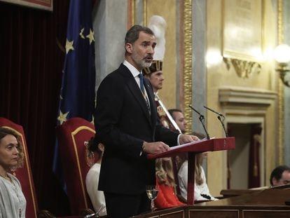 El Rey Felipe VI en el Congreso de los Diputados durante la sesión de apertura de las Cortes, el 4 de febrero.