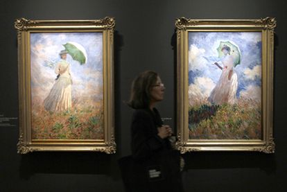 <i>Essais de figure en plein air (vers la droite), 1886,</i> y <i>Essais de figure en plein air (vers la gauche), 1886,</i> de Monet, en el Grand Palais de París.