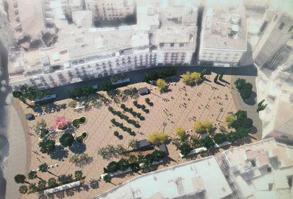 Recreación virtual de la plaza de la Reina tras la remodelación.