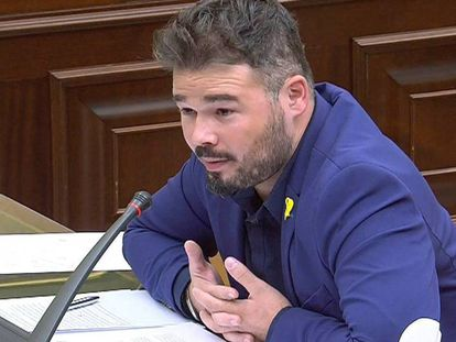 El diputado de ERC, Gabriel Rufián, en la Comisión de Investigación sobre la presunta financiación ilegal del PP.