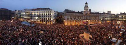 Panorámica de la Puerta del Sol al término de la marcha de Madrid.