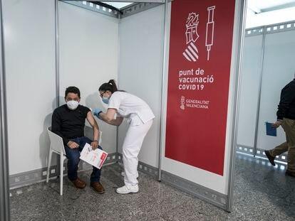 Punto de vacunación en la Comunidad Valenciana.