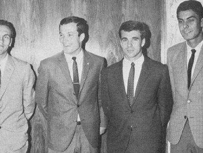 Los cuatro jugadores de Las Palmas convocados con España en 1968: Germán, Castellano, Tonono y Guedes.