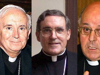 Los arzobispos de Toledo, Antonio Cañizares, y Tarragona, Lluís Martínez Sistach, y Ricardo Blázquez, presidente de la Conferencia Episcopal.